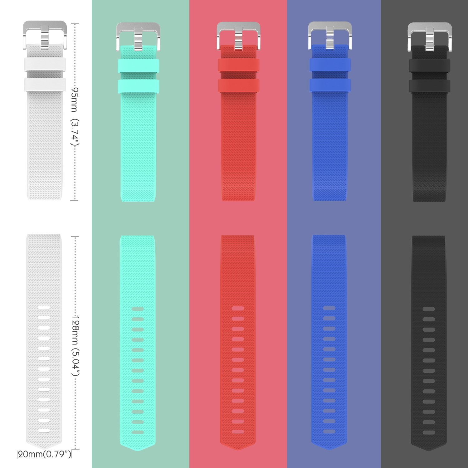 MoKo Soft Silicone Adjustable Replacement Sport Strap Band for Fitbit Charge 2 Smartwatch Heart Rate Fitness Wristband Wrist Length 5.70-8.26 145mm-210mm WHITE Fitbit Charge 2 Accessory Band
