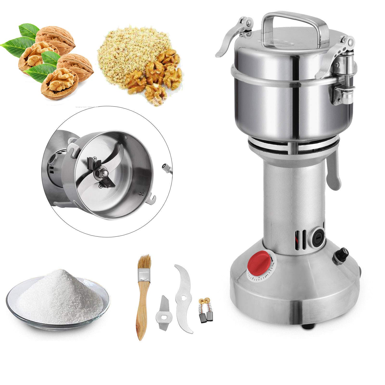 Mophorn 350g Electric Grain Mill Grinder Powder Machine 1600W 50-300 Mesh Food Grade 25000RPM Stainless Steel for Kitchen Herb Spice Pepper Coffee by Mophorn
