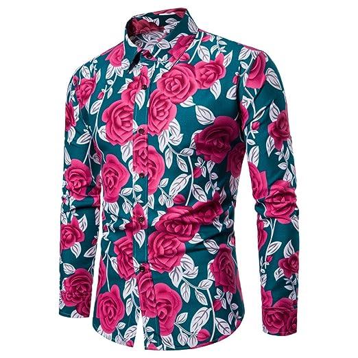 Camisa para Hombres Mangas Largas Ajuste Delgado, Blusa Estampada Flor de la Moda del Hombre Tops Camisetas Manga Larga Casual para Camisas Clásico (M, Verde): Amazon.es: Ropa y accesorios