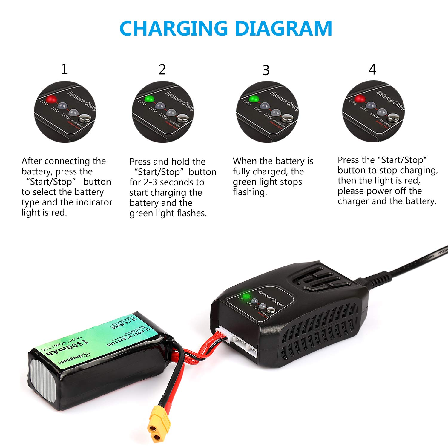 batteriol lipo battery charger ac input 20w lipo life lihv 2a 4s 3s