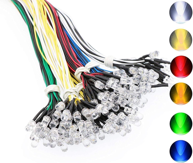 RUNCCI 120pcs 6 Colores Ultra Brillante 12V Luces LED de Diodo Pre Cableado {Blanco Rojo Azul Verde Amarillo Blanco Cálido blanco}