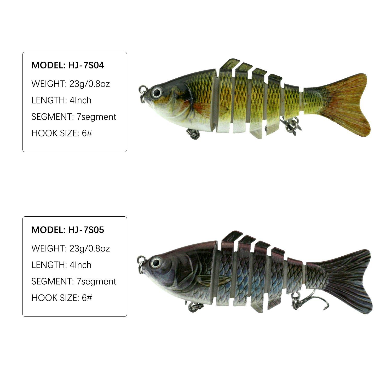 Modenpeak HJ-7S03 7 Segment Swimbait Lures Crankbaits Baits Hard Bait Fishing Lures 4'' 0.8oz by Modenpeak (Image #3)