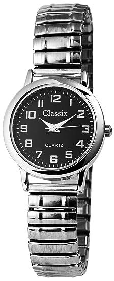 Reloj Mujer Negro Plata analógico de Cuarzo Metal y alemán Cordón Números Arábigos Reloj de Pulsera