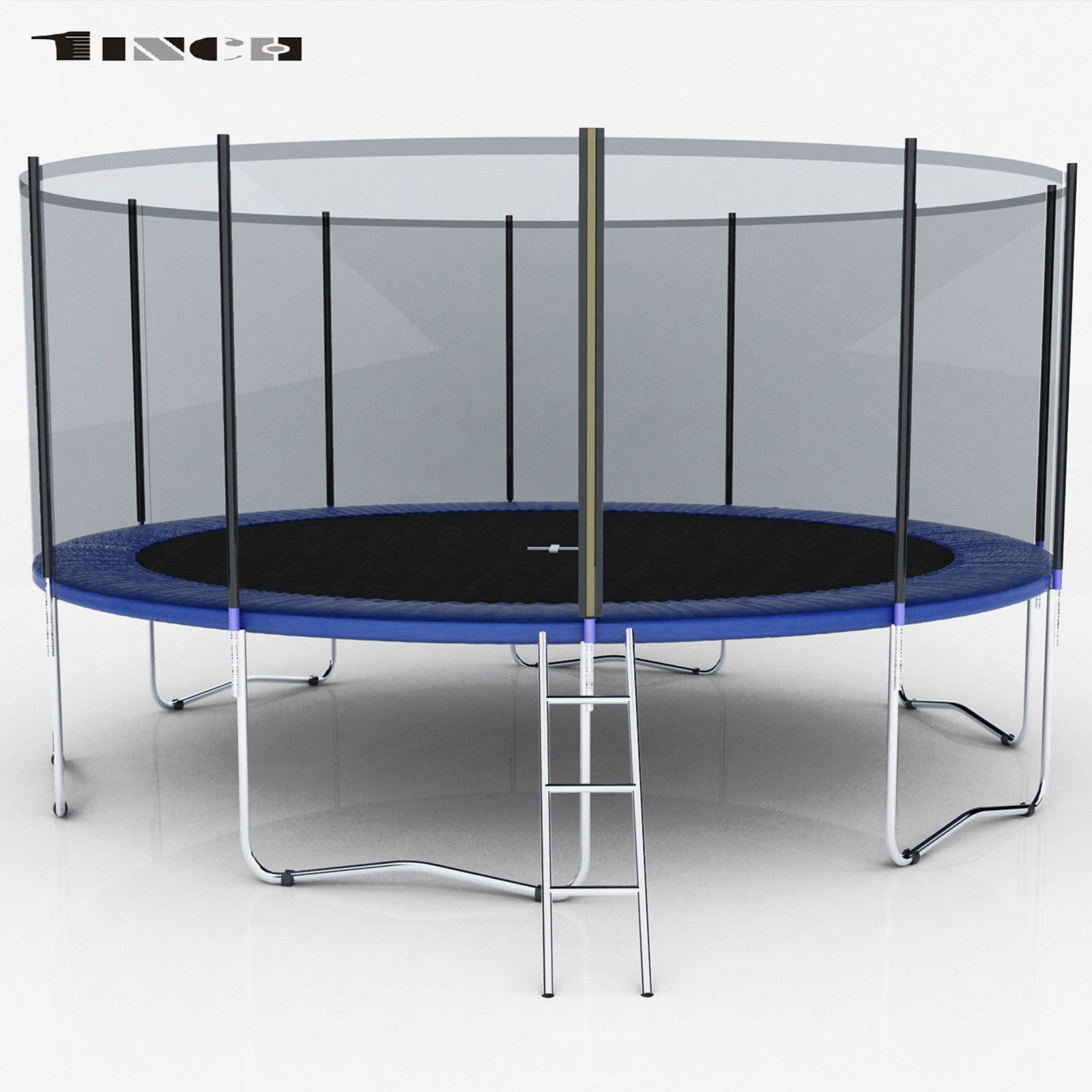 15FT Round Trampoline w/Enclosure Bounce Jump Safety Net Spring Pad &Ladder Blue With Ebook