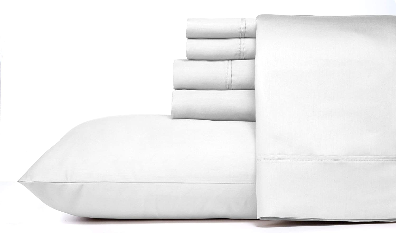 Blissful Living 800 Thread Count Cotton Rich 4-6 Piece Sheet Set - Includes Extra Pillowcase(S)! Super Soft, Hotel Quality Luxury (Twin, Off-White)