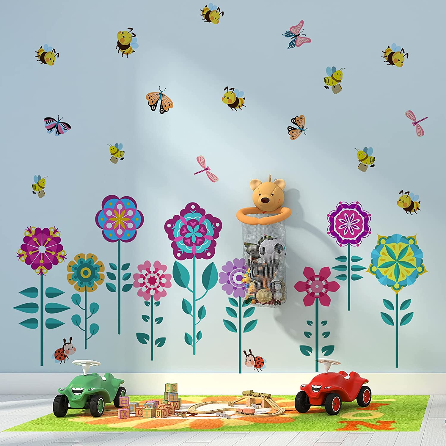 Spring Garden Flower Wall Decals Colorful Butterfly Bee Dragonfly Wall Sticker Peel and Stick Floral Wall Decor for Kids Nursery Bedroom Bathroom Kitchen Classroom