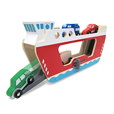 Melissa & Doug Wooden Ferryboat with 4 Wooden Vehicles, Great Gift for Girls and Boys - Best for 3, 4, and 5 Year Olds: Toys & Games