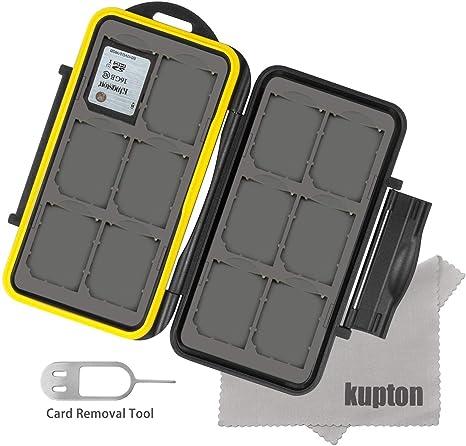 Kupton Estuche para Tarjetas de Memoria Resistente al Agua Funda de Tarjetas de Memoria a Prueba de Golpes para 12 Unidades de Tarjetas SDHC, SDXC, SD ...