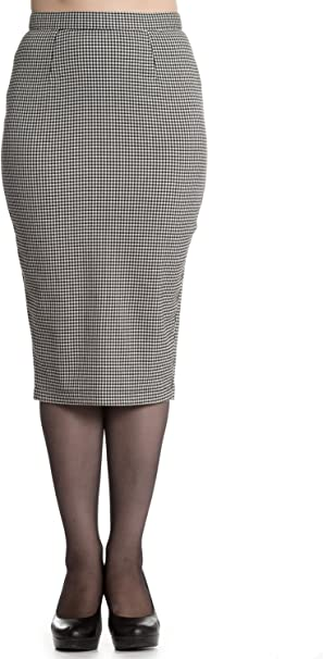 Falda de Tubo de Estilo Vintage Pata de Gallo