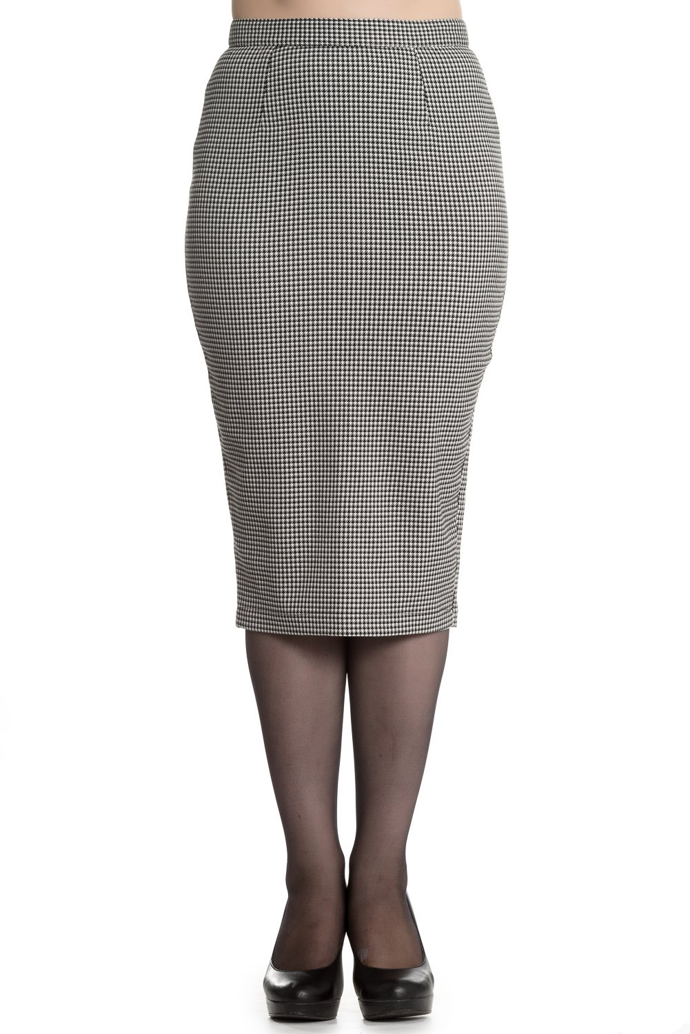 Hell Bunny Jackson Vintage Style Dogtooth Pencil Skirt (Black & White) - M by Hell Bunny
