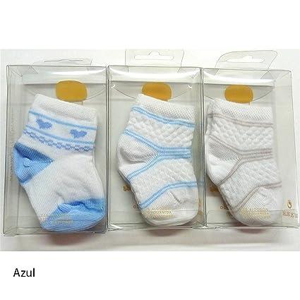 Rodfer - Pack 3 pares calcetines Bebe Fantasía 80/4 Talla 000 - Color Azul