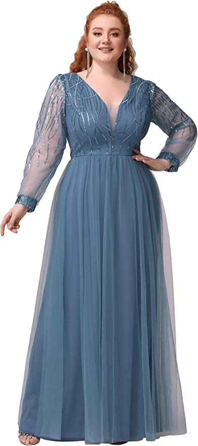 1940s Evening, Prom, Party, Formal, Ball Gowns Ever-Pretty Womens A-line Long Sleeve Sequin V-Neck Plus Size Evening Formal Dresses 0478-PZ $42.99 AT vintagedancer.com