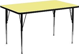 Flash Furniture 24''W x 48''L Rectangular Yellow Thermal Laminate Activity Table - Standard Height Adjustable Legs