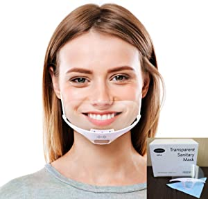 10PCS Professional Transparent Sanitary Cover Open Face Guard for Hotels, Mall, Beauty Salons, Food Handlers, Read Lips Microfiber Glasses Cleaner Random Color 1PCS