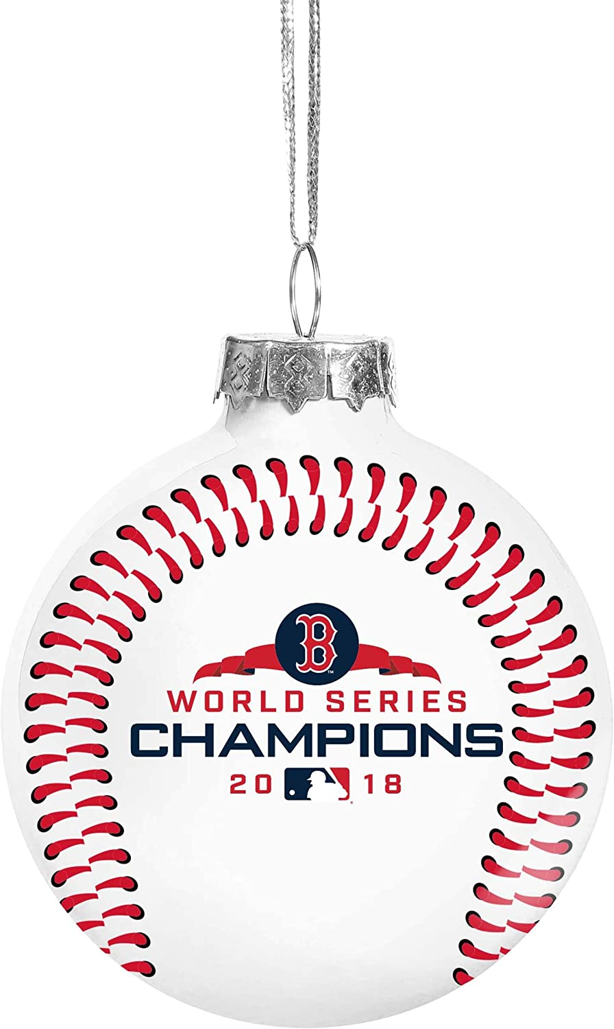Handmade Boston Red Sox Christmas Ornament!Fabric on Glass See details!