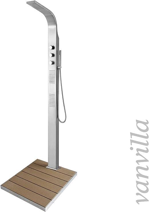 Vanvilla - Ducha de piscina de acero inoxidable, ducha de jardín, ducha exterior sin plato de ducha: Amazon.es: Jardín