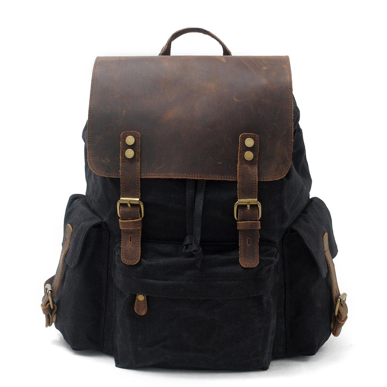 Backpack Women & Men H-ANDYBAG Waxed Canvas School Rucksack Backpack Bag Leather Large 15.6 Inch Laptop Black