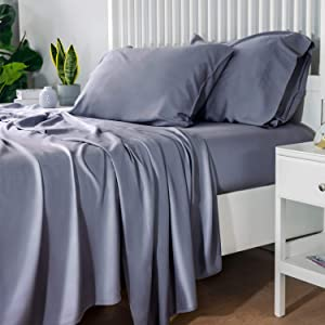 Bedsure 100% Bamboo Sheets Queen Size Cooling Sheets Deep Pocket Bed Sheets-Super Soft Hypoallergenic,Breathable - 4 Pieces 1 Fitted Sheet with 14 Inches, 1 Flat Sheet, 2 Pillowcases-Grey