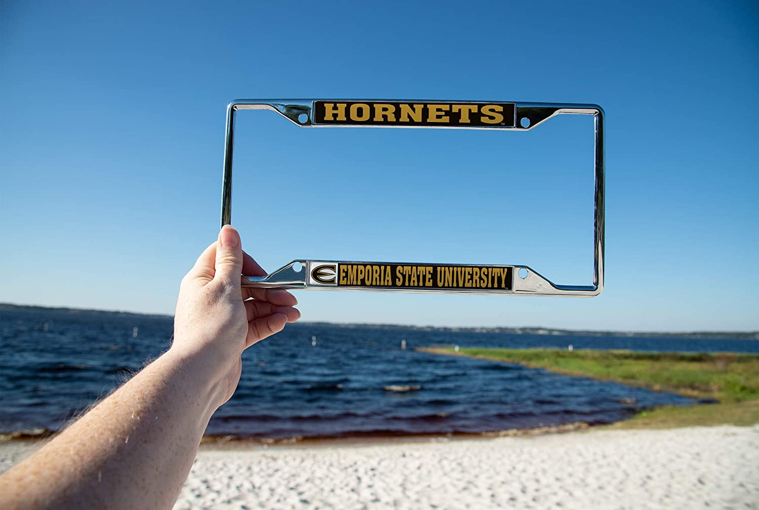 Mascot Desert Cactus Emporia State University Hornets NCAA Metal License Plate Frame for Front Back of Car Officially Licensed