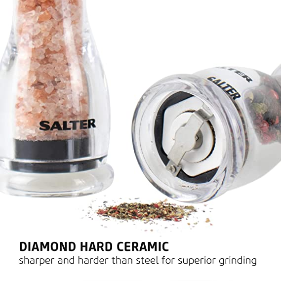 Salt And Pepper Mill Set Contemporary Kitchen Condiment Grinders