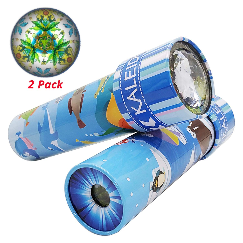 iKeelo Classic Tin Kaleidoscope, 2 Pack Kids Educational Kaleidoscope Toy with Metal Body, Birthday Gift for Boys and Girls