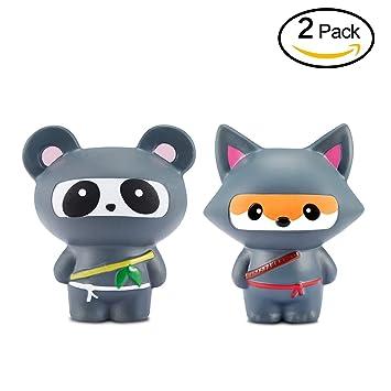 Yojoloin Squishies Squishy 2PCS Ninja Fox Panda Squishy Súper Jumbo Descompresión Slow Rising Fidget Toy Scented Rare JUNKE Diversión, (Fox y Panda)