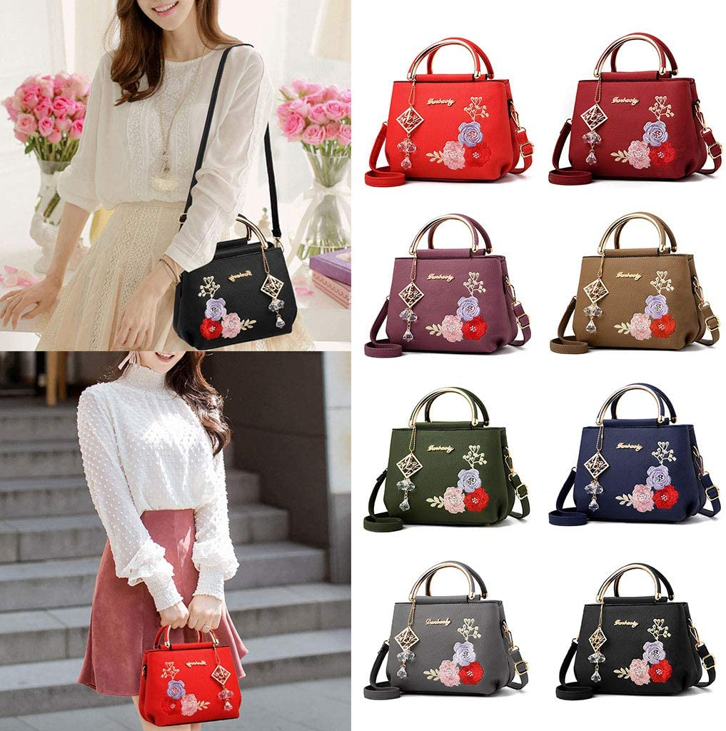 JAGENIE Women Embroidery Flower Leather Handbag Shoulder Bag Ladies Purse Tote Messenger Satchel Crossbody Large Top-Handle Bags