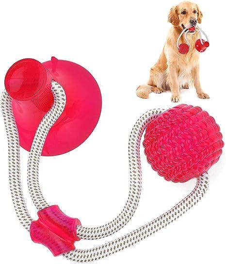 Imagen deSuprcrne Pelota de Juguete al Aire Libre para Perros, Juguetes para morder para Perros Juguete Multifuncional para mordedura de Molar para Mascotas para la Limpieza de los Dientes (Rojo)
