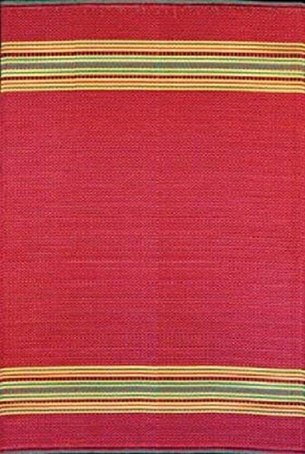 Mad Mats Serape Indoor Outdoor Floor Mat, 4 by 6-Feet, Dark Red