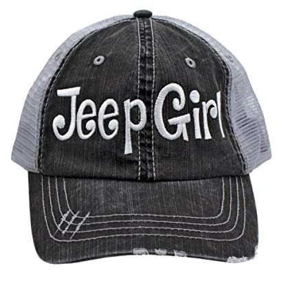 Amazon.com  Jeep Girl Embroidered Trucker Style Cap Hat Grey Grey ... 3ffe82ce89