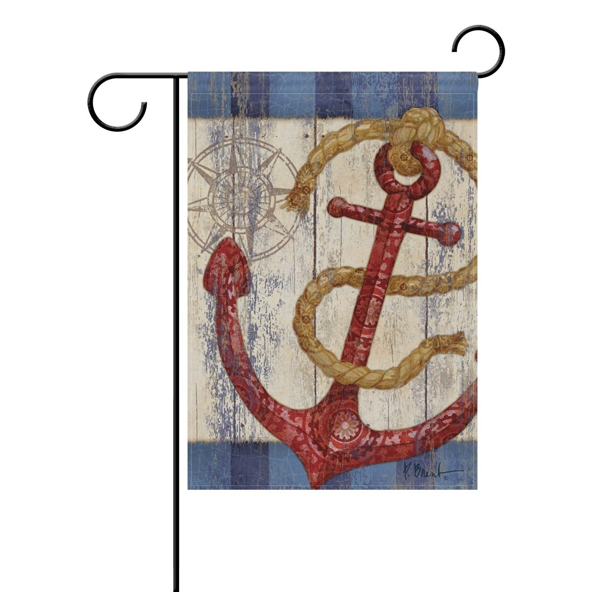 senya Double Sided Yard Garden Flag, Wood Nautical Anchor Decor Home House Outdoor Flags, Graduation Decorations Gifts, 28'' x 40''