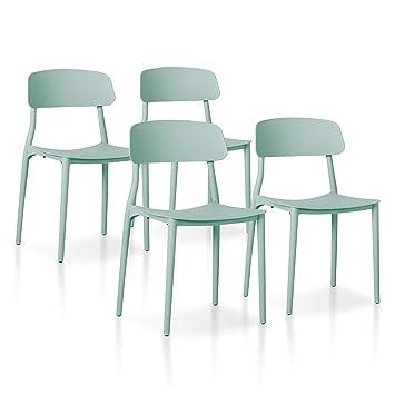 SuenosZzz - Pack sillas (x4) Toy Color Verde, para Comedor o Cocina |  Sillas de Polipropileno | Conjunto de sillas Modernas | Sillas plasticas |  ...