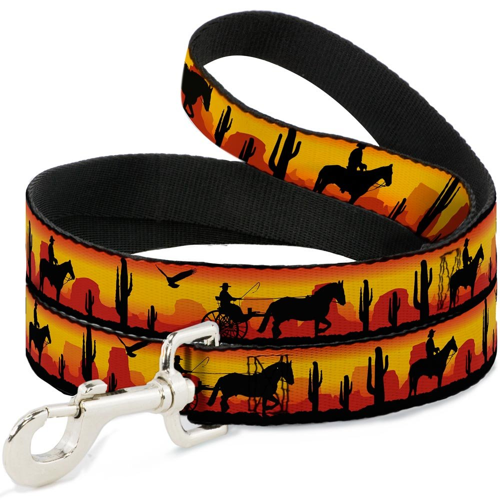 Buckle-Down Cowboy Silhouette Western Landscape Reds Black Dog Leash, 6'
