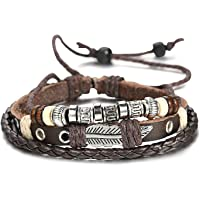 sailimue Braided Leather Bracelet Men Cuff Bracelet 7.6-11 Inches