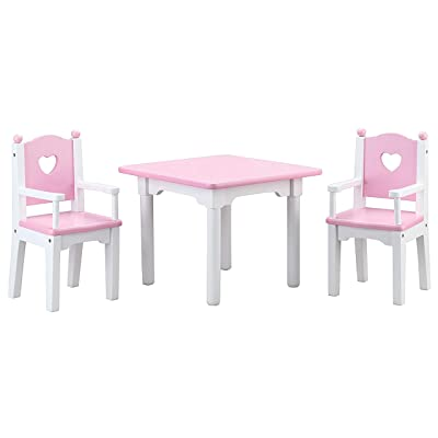 Beverly Hills Doll Table and Chairs, Wooden Furniture Accessories Set Fits 18 Inch American Girl Doll. Made with Extra Durable Solid Wood: Toys & Games