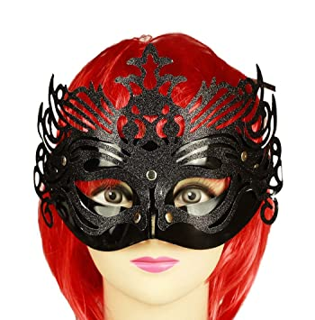 HAAC Veneciana Ojo Máscara Máscara con glitzern Color Negro para Halloween Fiesta de Carnaval