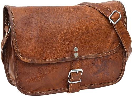 Ladies Brown Genuine Vintage Leather Open Tote Travel Bag Shoulder Shopper Purse
