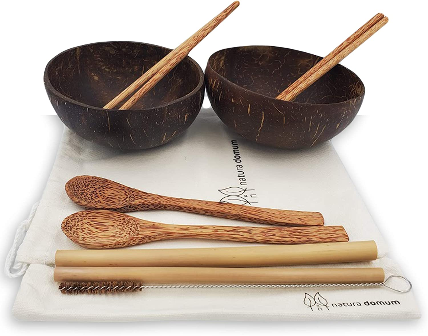 Coconut Bowls with Spoons Gift Set of 2. Includes Coconut Cutlery 2 Spoons, 2 Chopsticks, 2 Bamboo Straws. With Travel Gift Bag. 100% Natural, Vegan, Eco Friendly, Handmade, Reusable