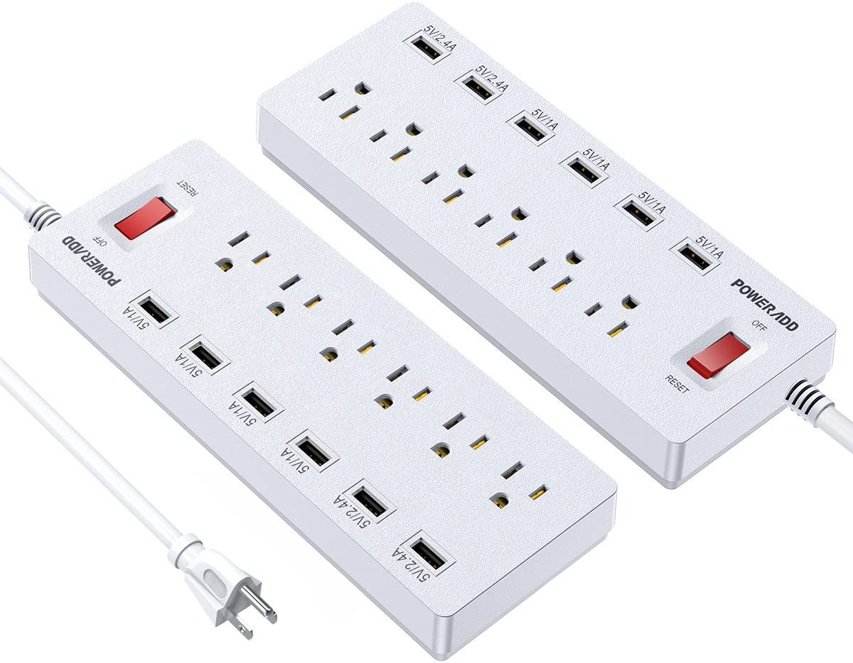 POWERADD Power Strip Surge Protector 6 Outlets 6 USB Charging Ports, 6ft Heavy Duty Extension Cord, USB Outlet Extender for Home Office 1625W 13A 2 Pack