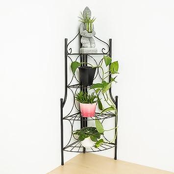 TecTake Etagère de jardin pour plantes escalier en fer 4 niveaux ...