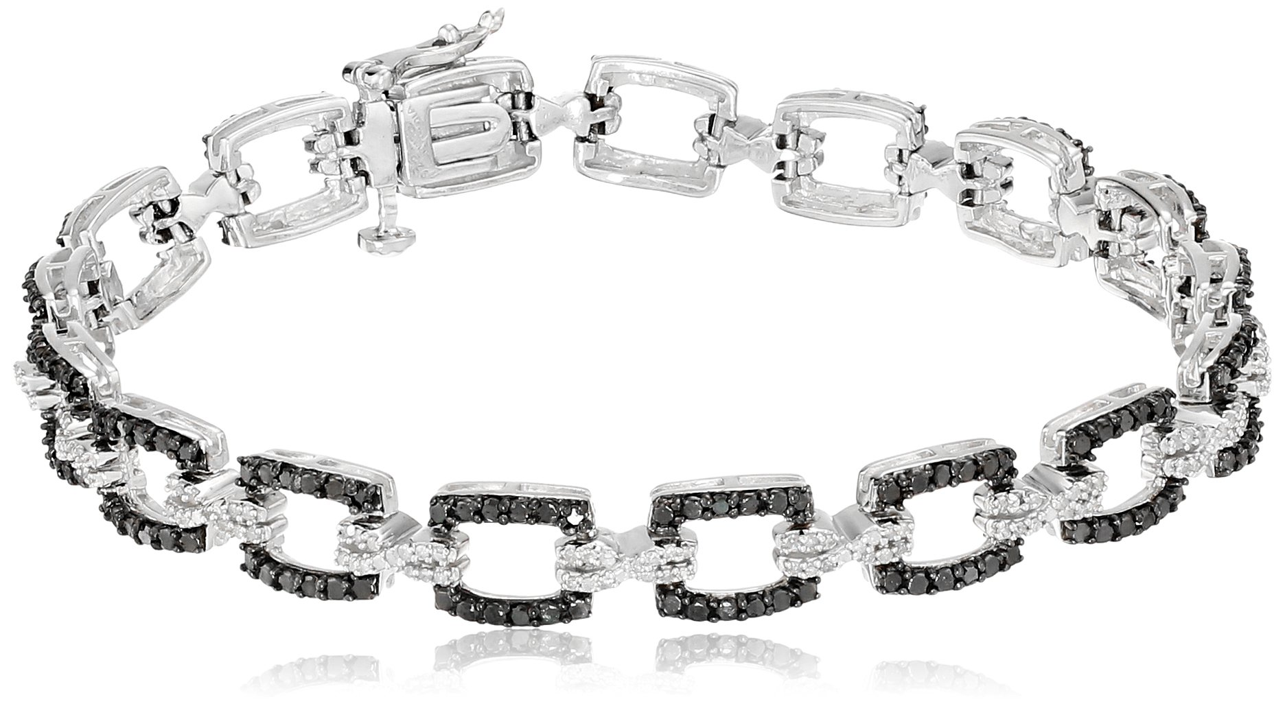Sterling Silver Black and White Diamond Bracelet (1 cttw), 7.25''