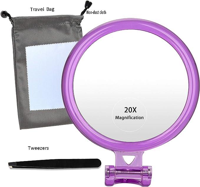 specchio ingranditore 20X con tre ventose 5 pollici, viola pinzette e rimozione punti neri//blmish. 12,7 cm Versione aggiornata 2020 uso per lapplicazione del trucco