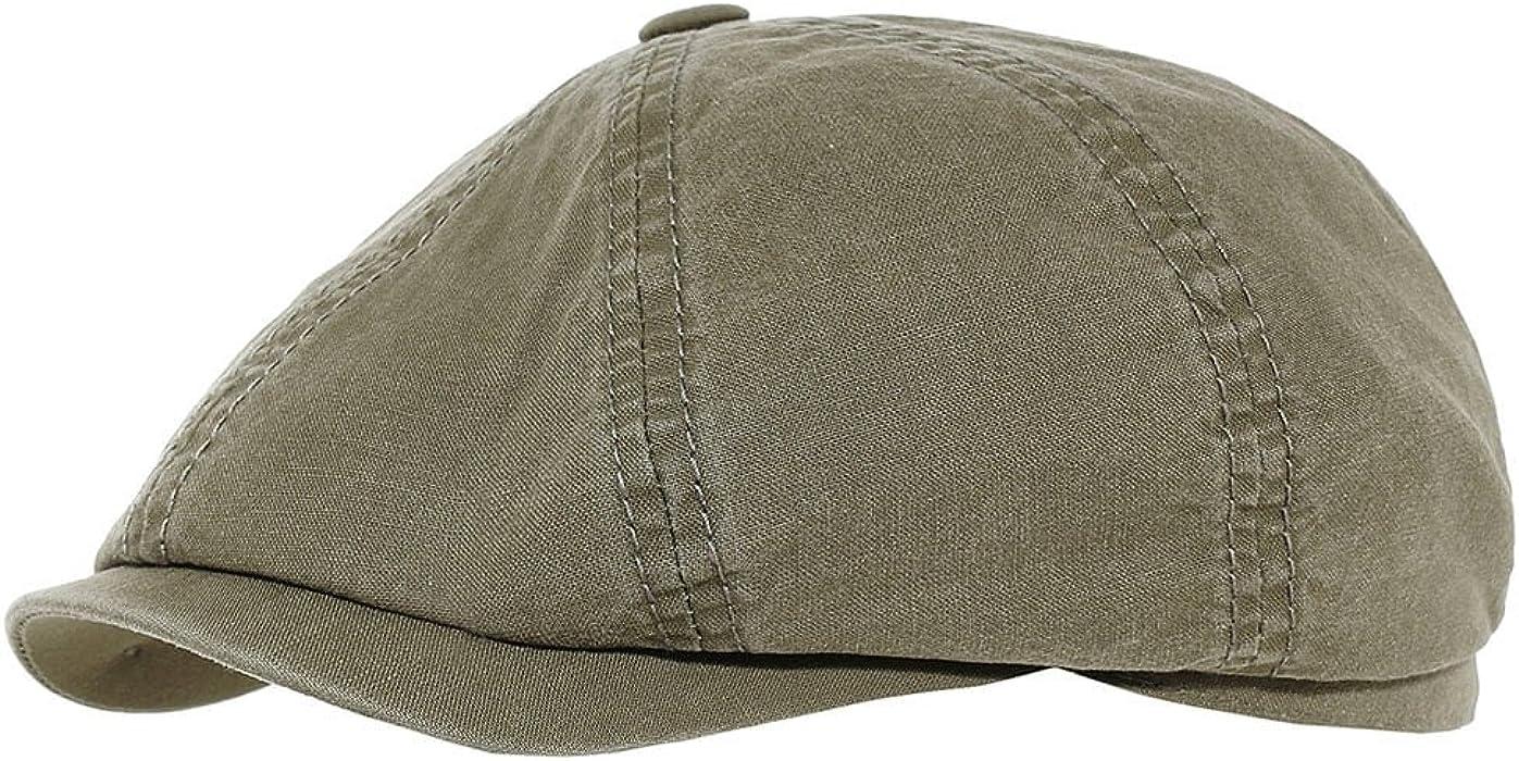 9a6bc7eb Stetson Men's Newsboy Cap Hatteras delave organic cotton - olive S ...