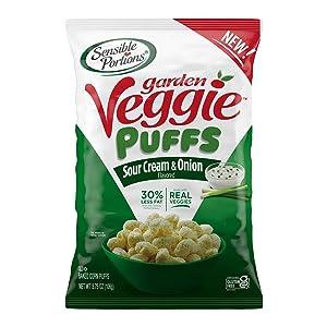 Sensible Portions Garden Veggie Puffs, Sour Cream & Onion, 3.75 oz (Pack of 6)