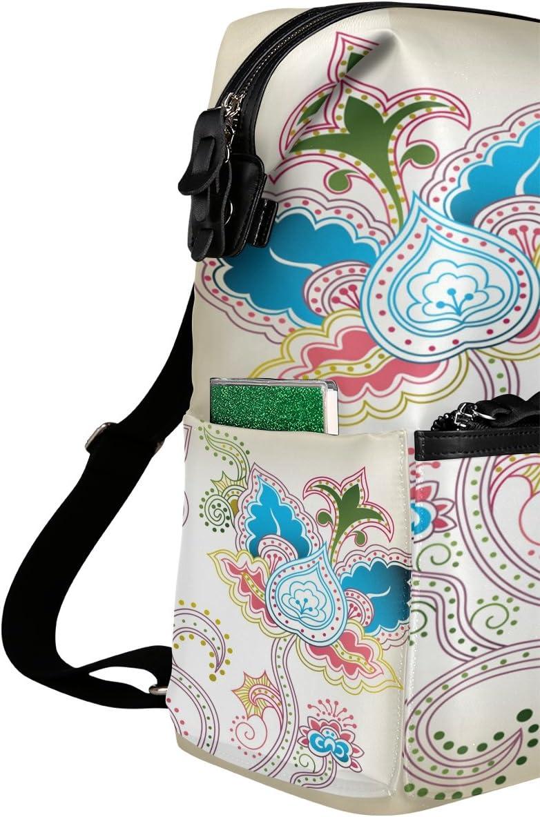 Laptop Backpack Lightweight Waterproof Travel Backpack Double Zipper Design with Bohemian Multicoloured Flowers Pattern School Bag Laptop Bookbag Daypack for Women Kids
