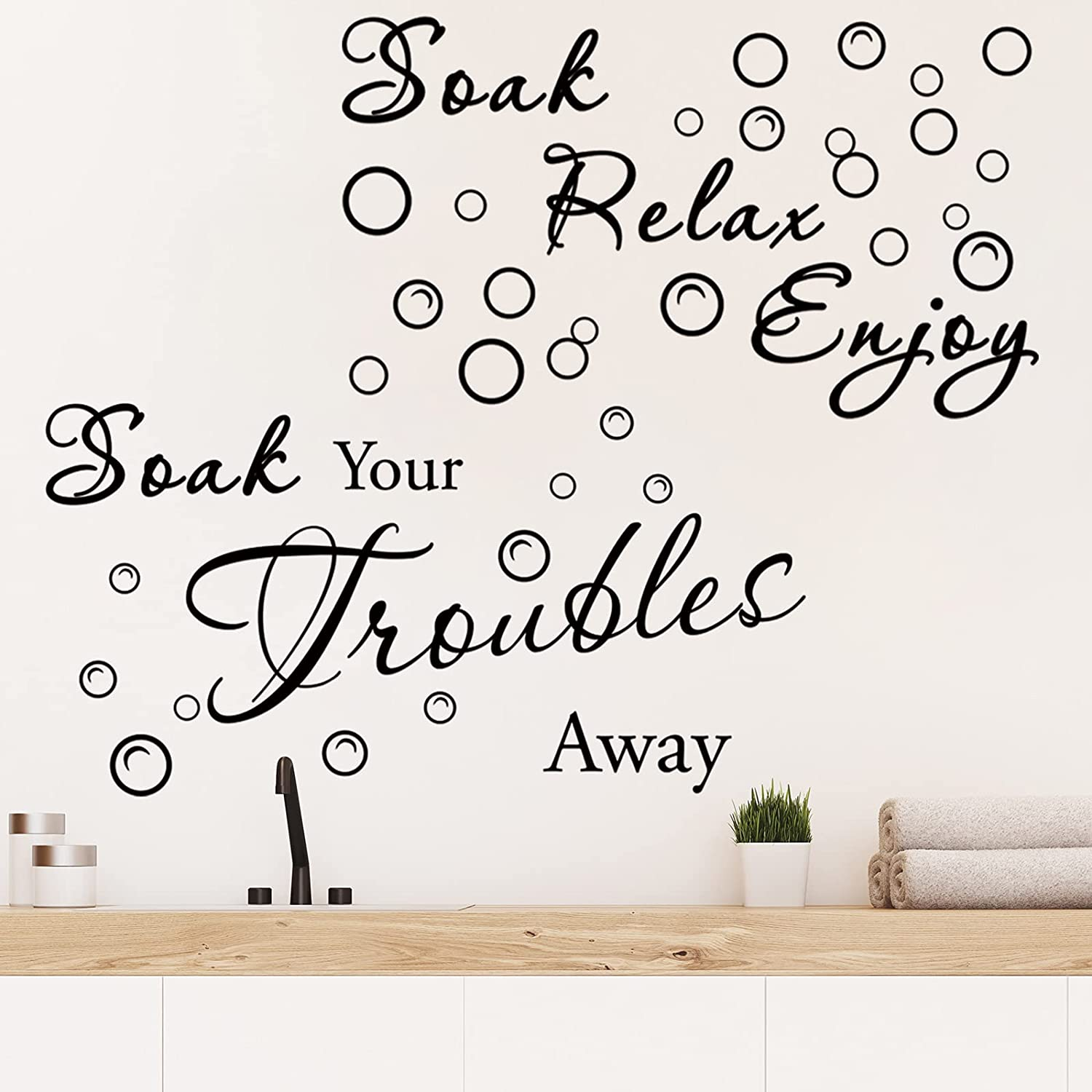 2 Pieces Bathroom Wall Decals Stickers Soak Relax Bathroom Decor Removable Vinyl Wall Sticker Soak Your Troubles Away Stickers Quote Wall Art Decoration for Home Bathroom