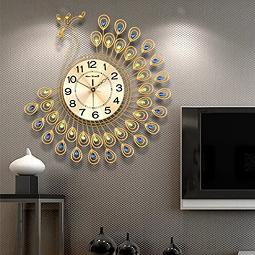 NEOTEND Large Decorative Wall Clock Peacock Silent Modern Wall Clock for Living Room 3D Non Ticking Clock