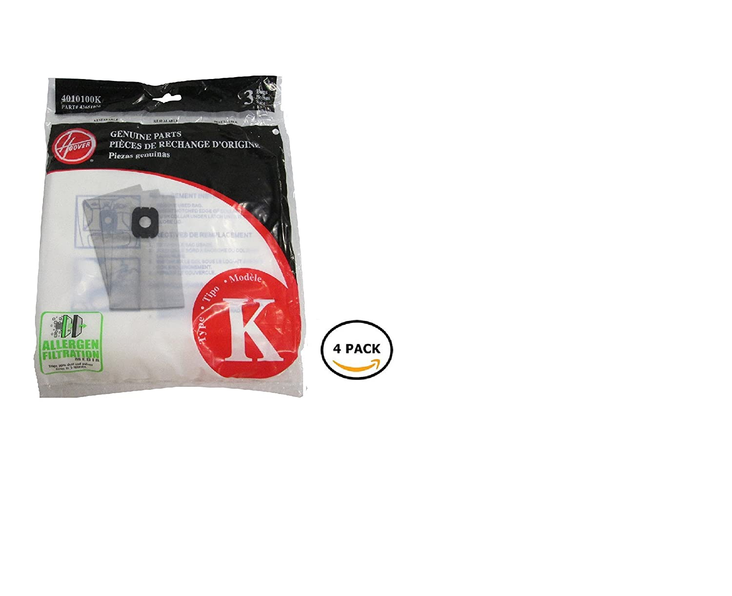 Hoover Type K Spirit Vacuum Cleaner Replacement Bags, Package of 10