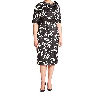 888cf5f703c Marina Rinaldi Women s Diorama Print Sheath Dress Black White at Amazon  Women s Clothing store