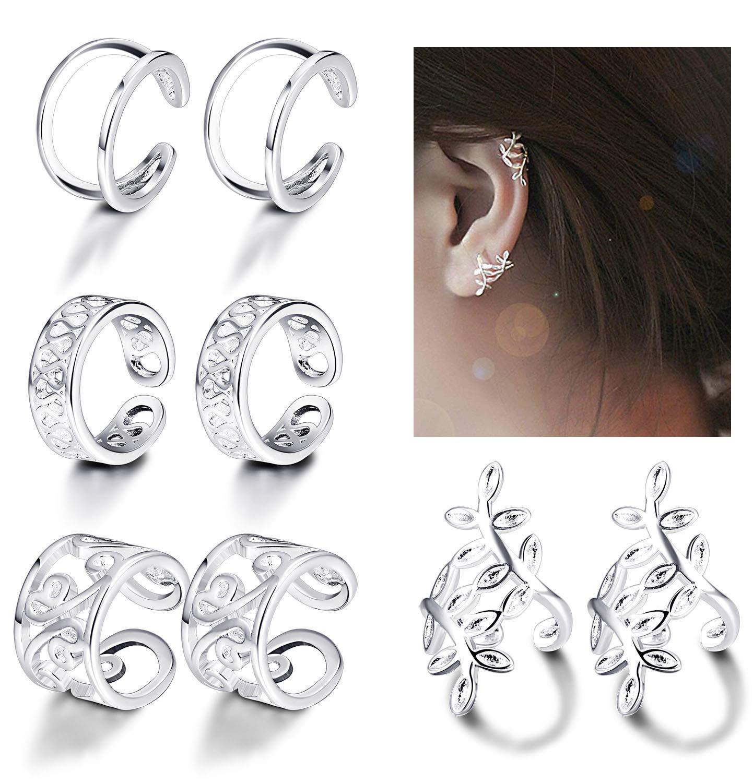 JOERICA 4 Pairs Silver Ear Cuff Earrings for Women Girls Clip on Fake Lip Cartilage Tragus Helix Body Jewelry Set
